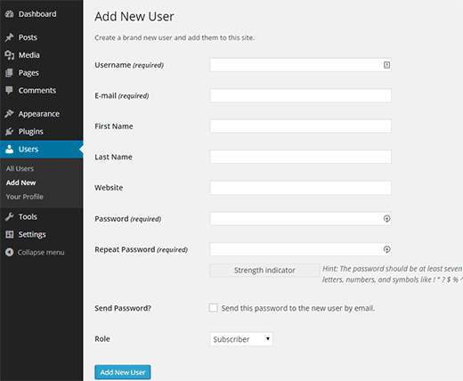 Add New User in WordPress