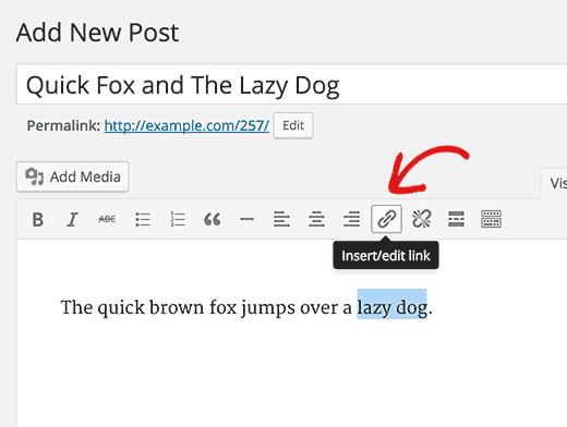 Insert Link or Button in WordPress